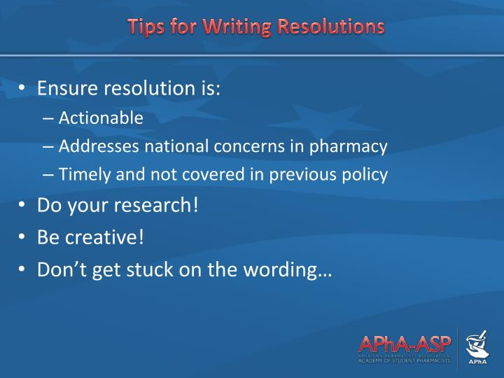 Tips for Writing Resolutions