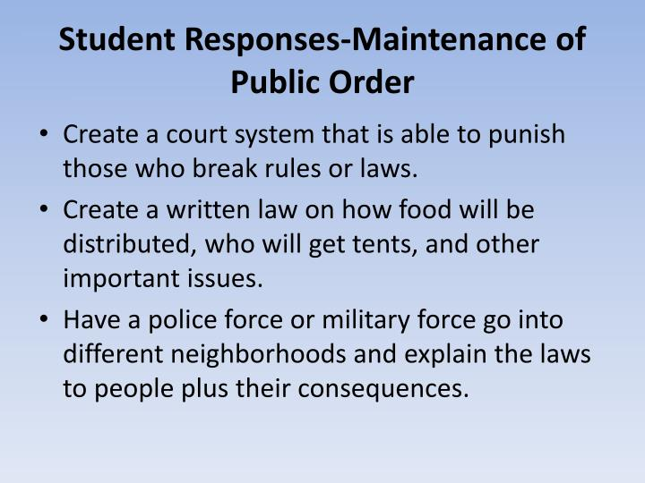 Student Responses-Maintenance of Public Order