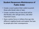 student responses maintenance of public order