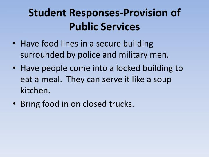 Student Responses-Provision of Public Services