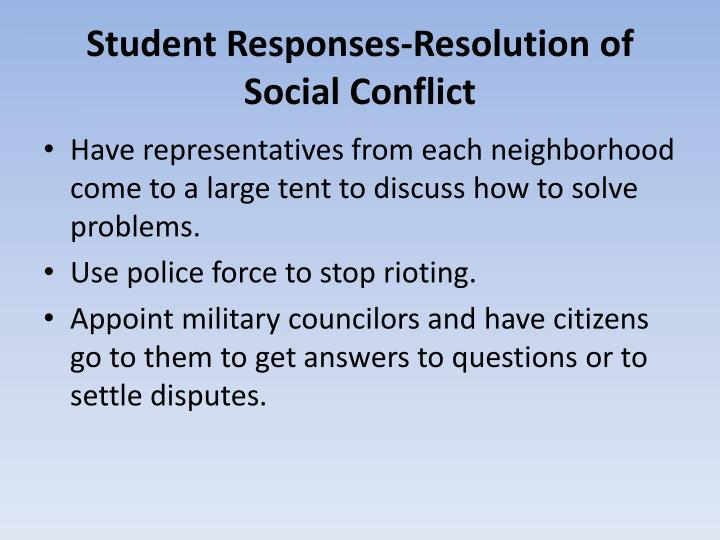 Student Responses-Resolution of Social Conflict