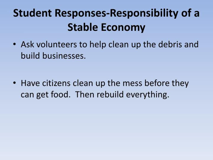 Student Responses-Responsibility of a Stable Economy