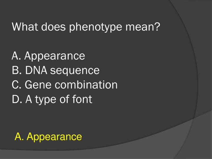 What does phenotype mean?