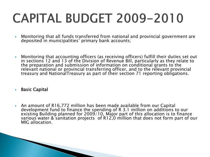 CAPITAL BUDGET 2009-2010