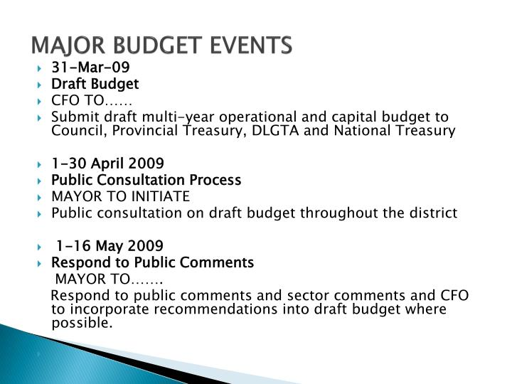 MAJOR BUDGET EVENTS