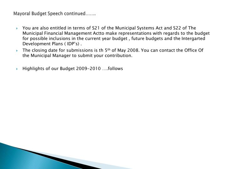 Mayoral Budget Speech continued…….