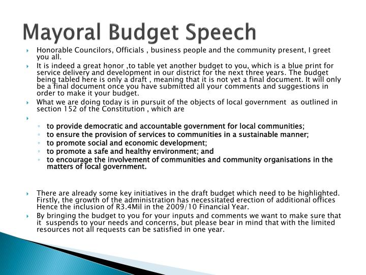 Mayoral Budget Speech