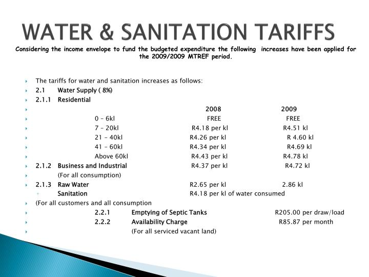 WATER & SANITATION TARIFFS