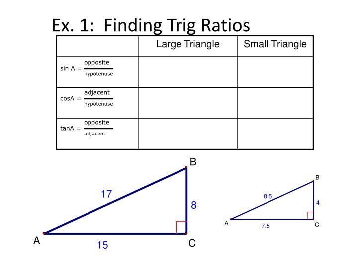 Ex. 1:  Finding Trig Ratios