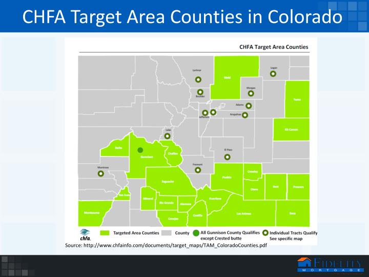 CHFA Target Area Counties in Colorado