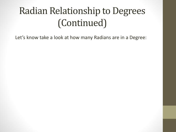 degree and radian relationship