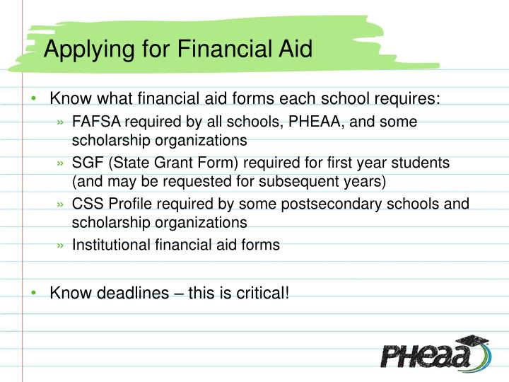 Applying for Financial Aid