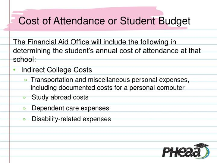 Cost of Attendance or Student Budget
