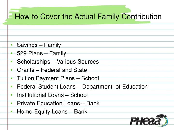 How to Cover the Actual Family Contribution