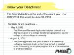 know your deadlines