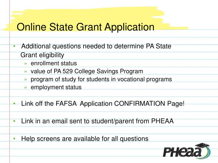 Online State Grant Application