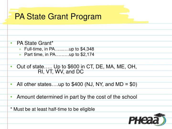 PA State Grant Program