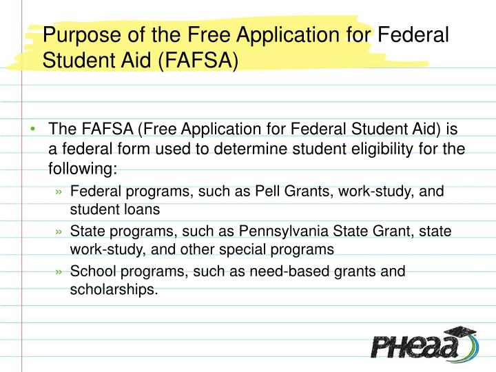Purpose of the Free Application for Federal Student Aid (FAFSA)