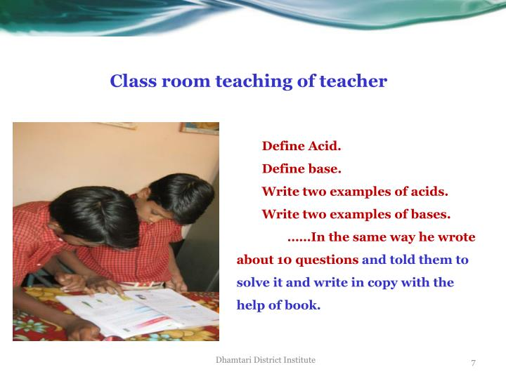Class room teaching of teacher