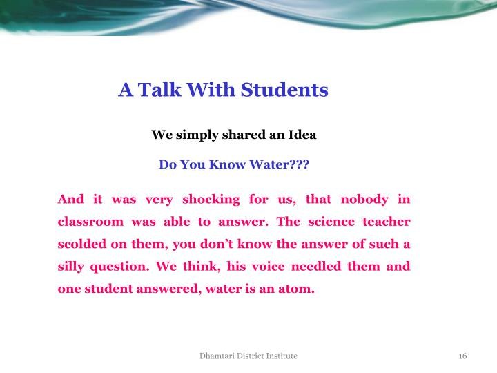 A Talk With Students