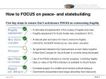 how to focus on peace and statebuilding