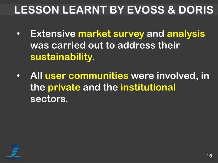 Lesson learnt by EVOSS & DORIS