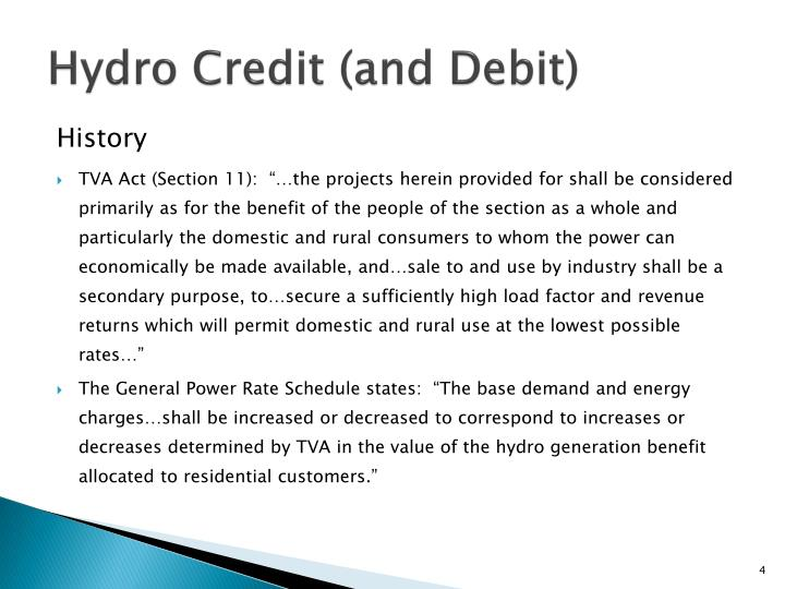 Hydro Credit (and Debit)