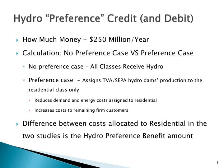 "Hydro ""Preference"" Credit (and Debit)"