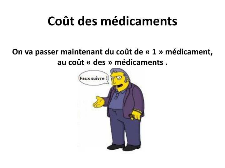 Coût des médicaments