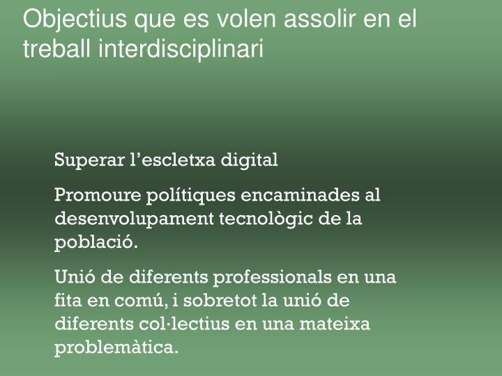 Objectius que es volen assolir en el treball interdisciplinari