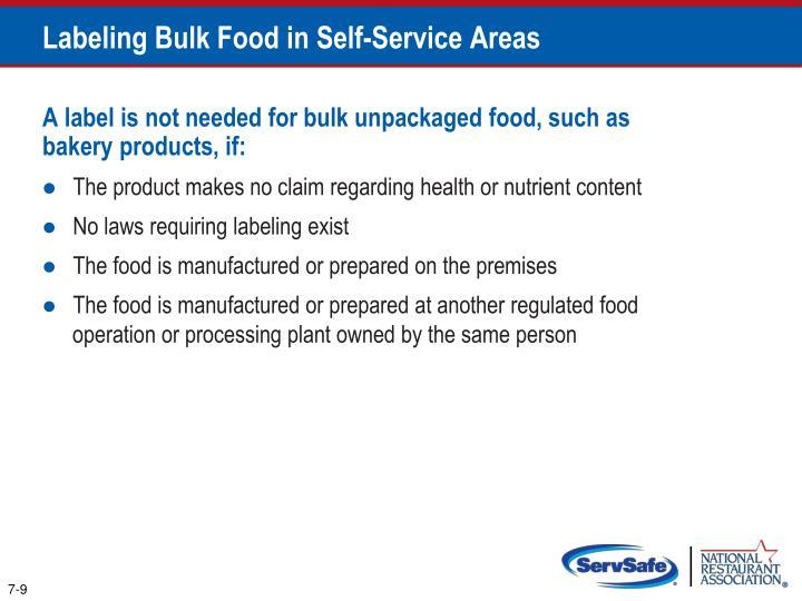 Labeling Bulk Food in Self-Service Areas