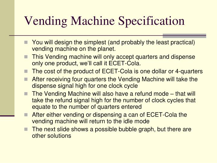 Vending machine specification