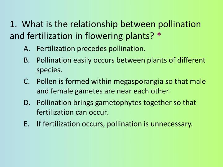 1.  What is the relationship between pollination and fertilization in flowering plants?