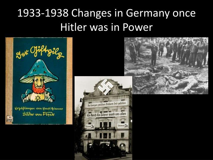 1933-1938 Changes in Germany once Hitler was in Power