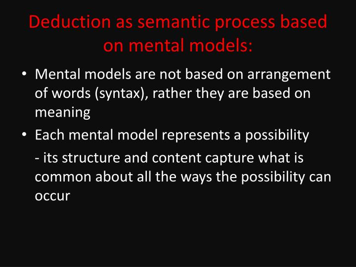 Deduction as semantic process based on mental models: