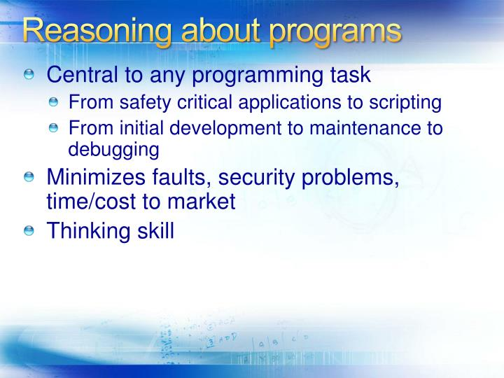 Reasoning about programs