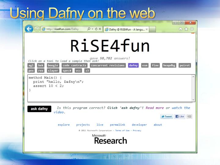Using Dafny on the web