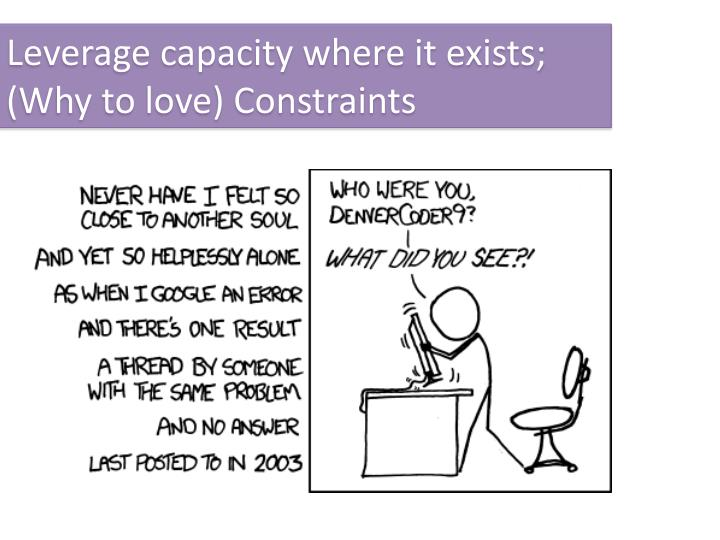 Leverage capacity where it exists;