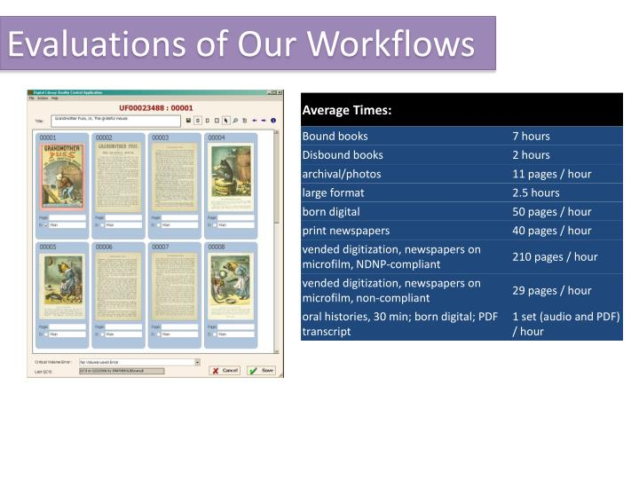 Evaluations of Our Workflows