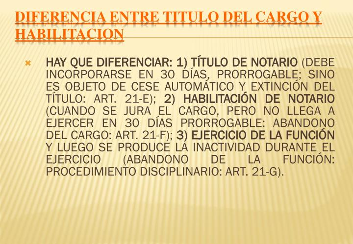 DIFERENCIA ENTRE TITULO DEL CARGO Y HABILITACION