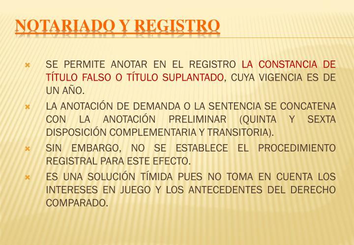 NOTARIADO Y REGISTRO