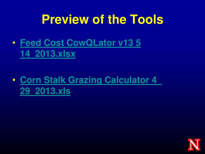 Preview of the Tools