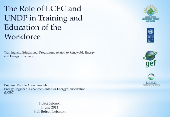 The Role of LCEC and UNDP in Training and Education of the Workforce