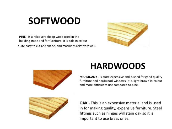 Pine is a relatively cheap wood used in the building trade and for furniture it is pale in colour