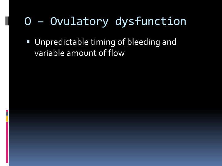 O – Ovulatory dysfunction