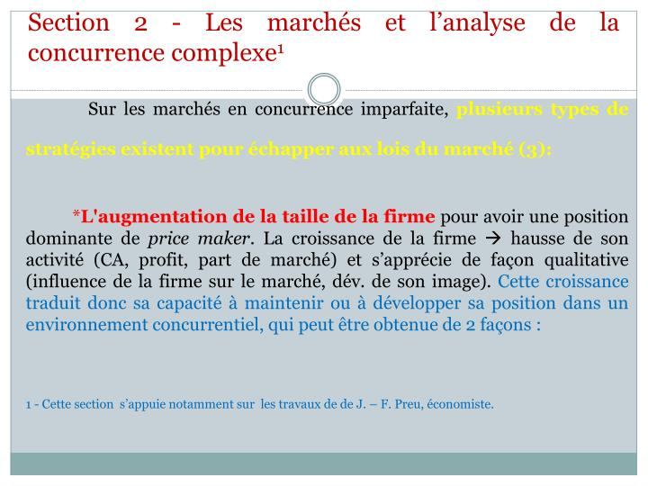 Section 2 les march s et l analyse de la concurrence complexe 1