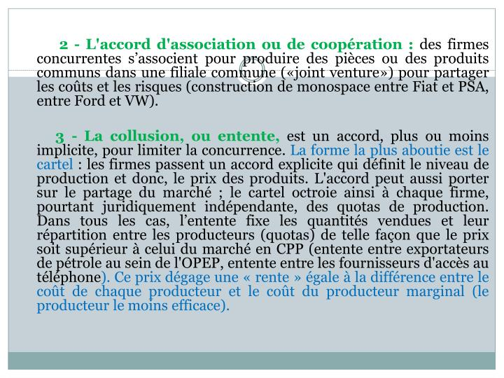 2 - L'accord d'association ou de coopération :