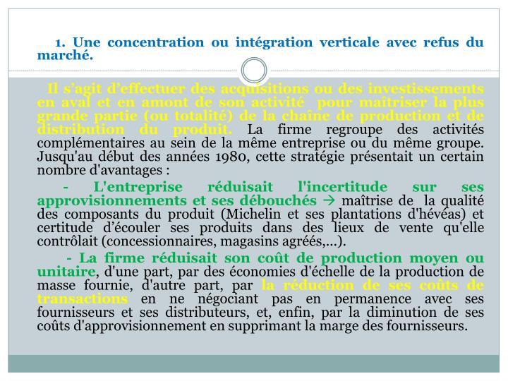 1. Une concentration ou intégration verticale avec refus du marché.
