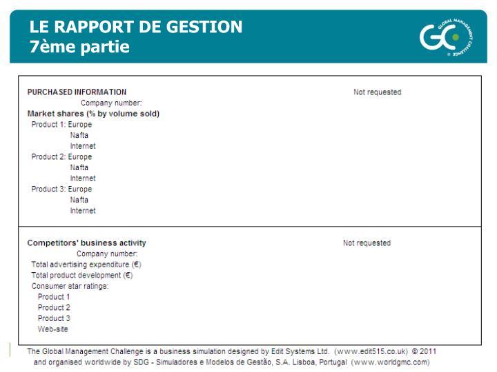 LE RAPPORT DE GESTION