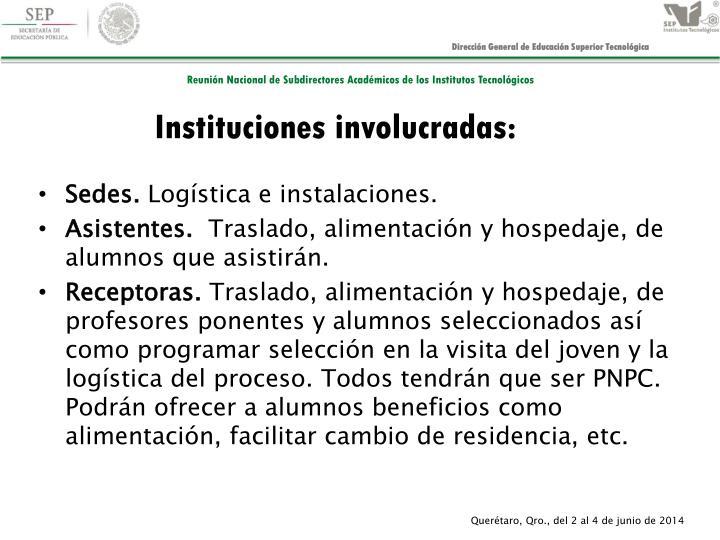 Instituciones involucradas: